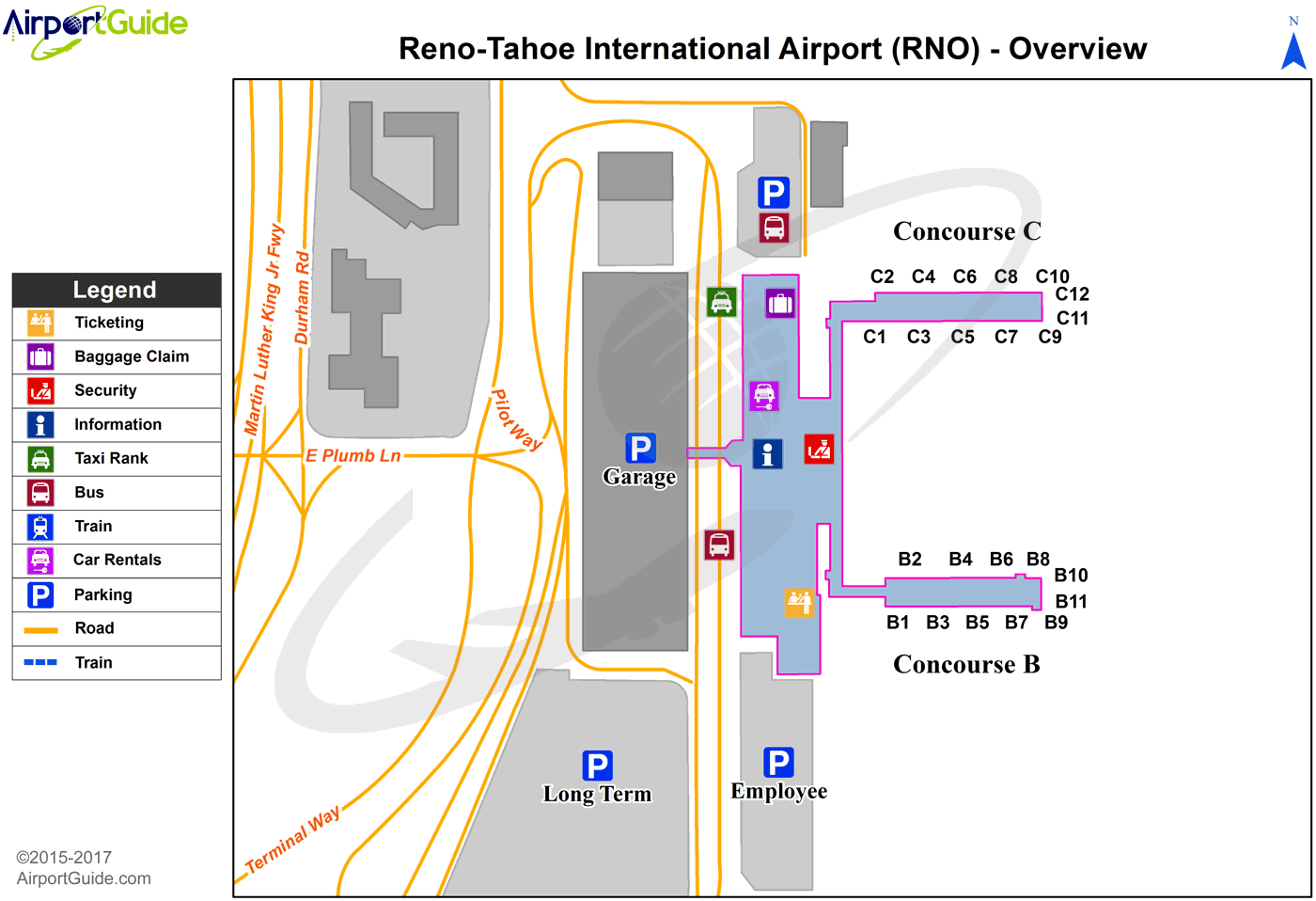 Reno - Reno/Tahoe International (RNO) Airport Terminal Map - Overview