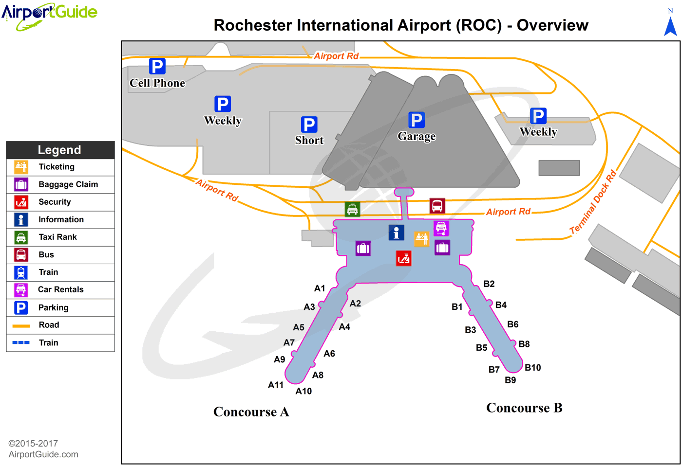 Rochester - Greater Rochester International (ROC) Airport Terminal Map - Overview