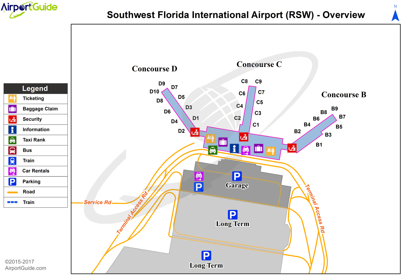 Fort Myers - North Palm Beach County General Aviation (RSW) Airport Terminal Map - Overview