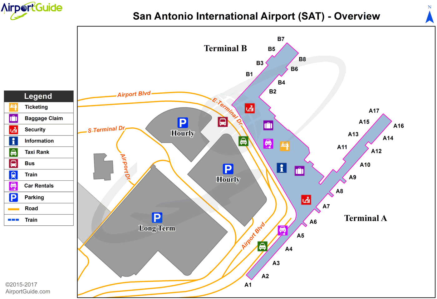 San Antonio - San Antonio International (SAT) Airport Terminal Map - Overview