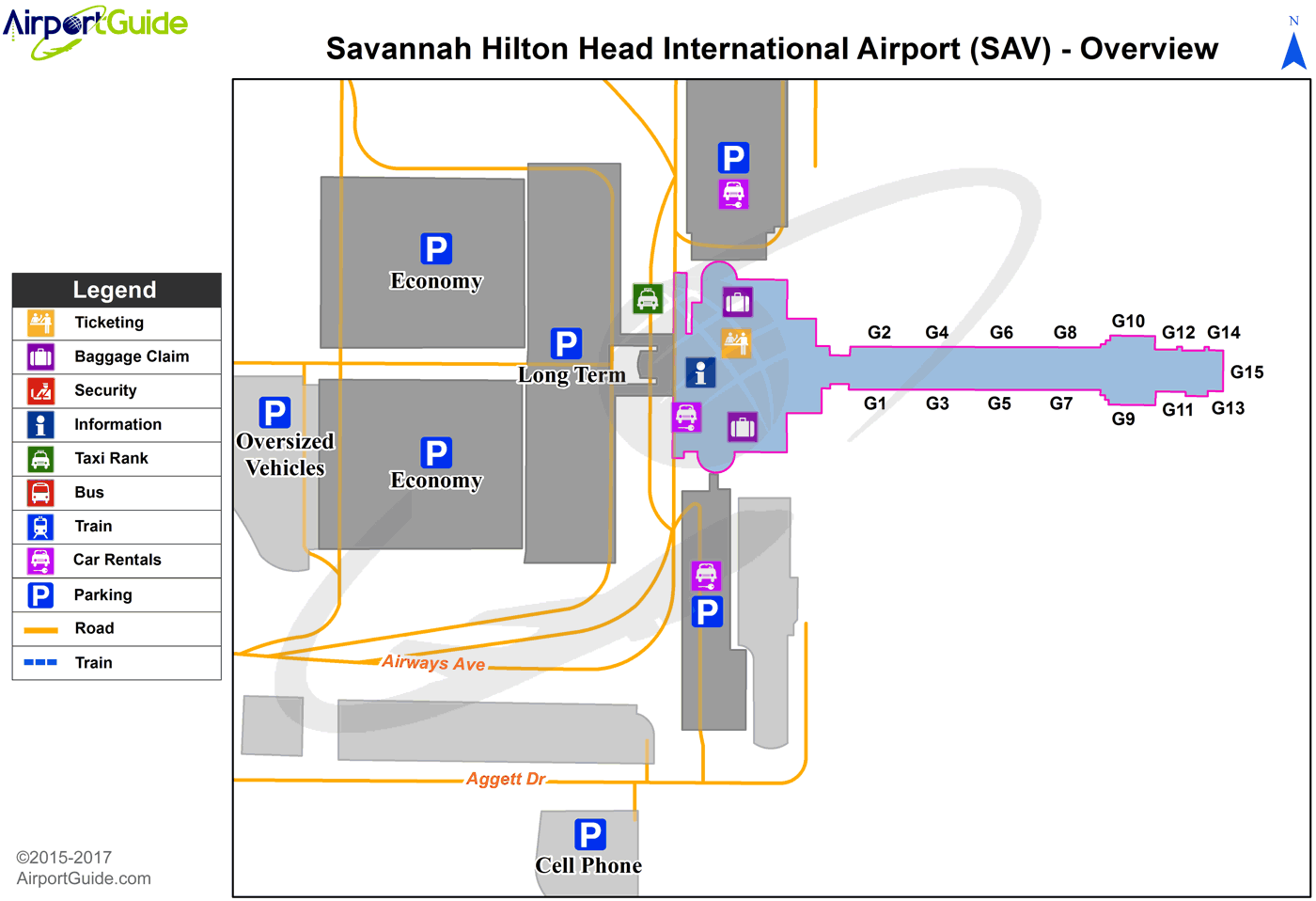 Savannah - Savannah/Hilton Head International (SAV) Airport Terminal Map - Overview