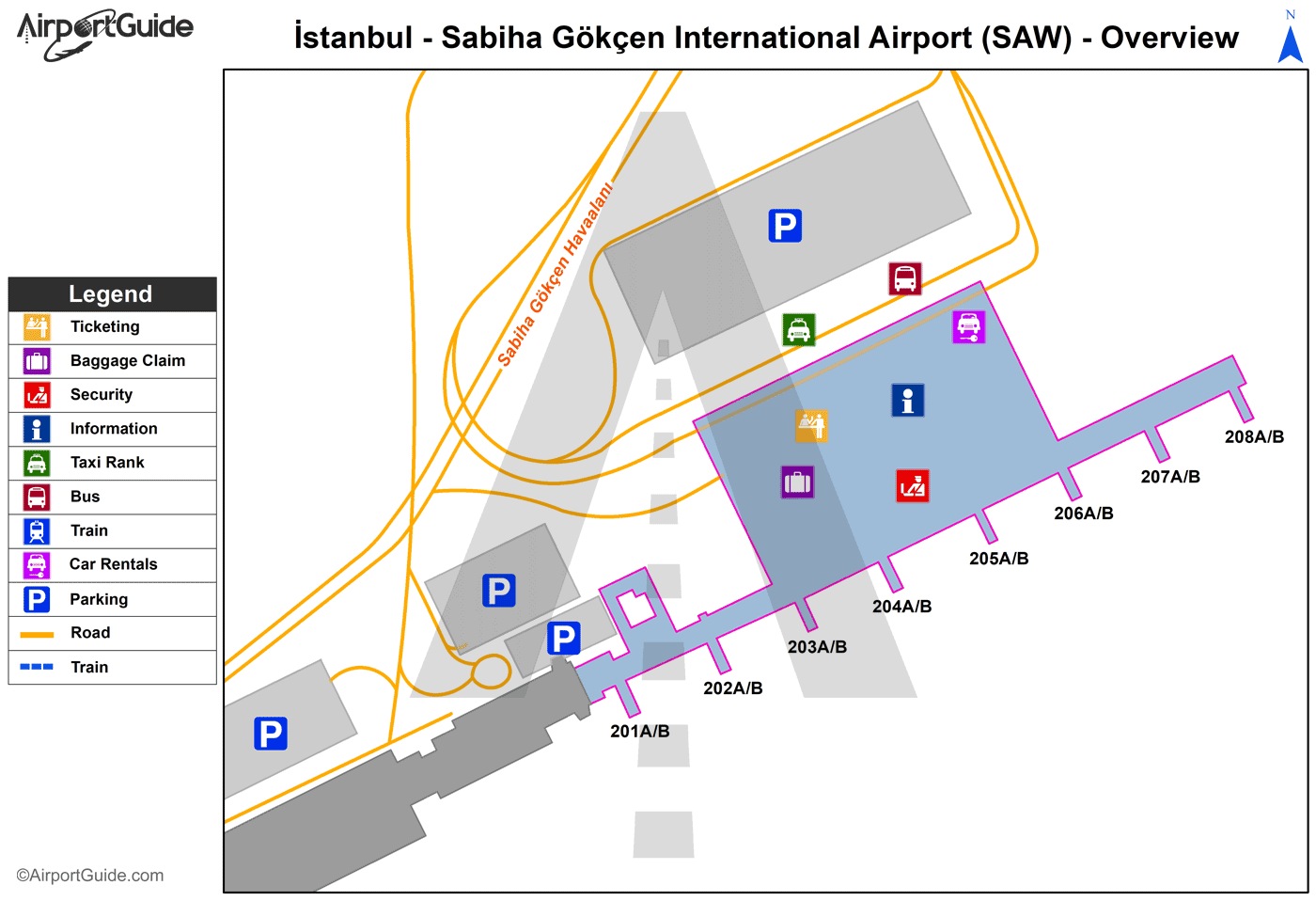 İstanbul - Sabiha Gökçen International (SAW) Airport Terminal Map - Overview