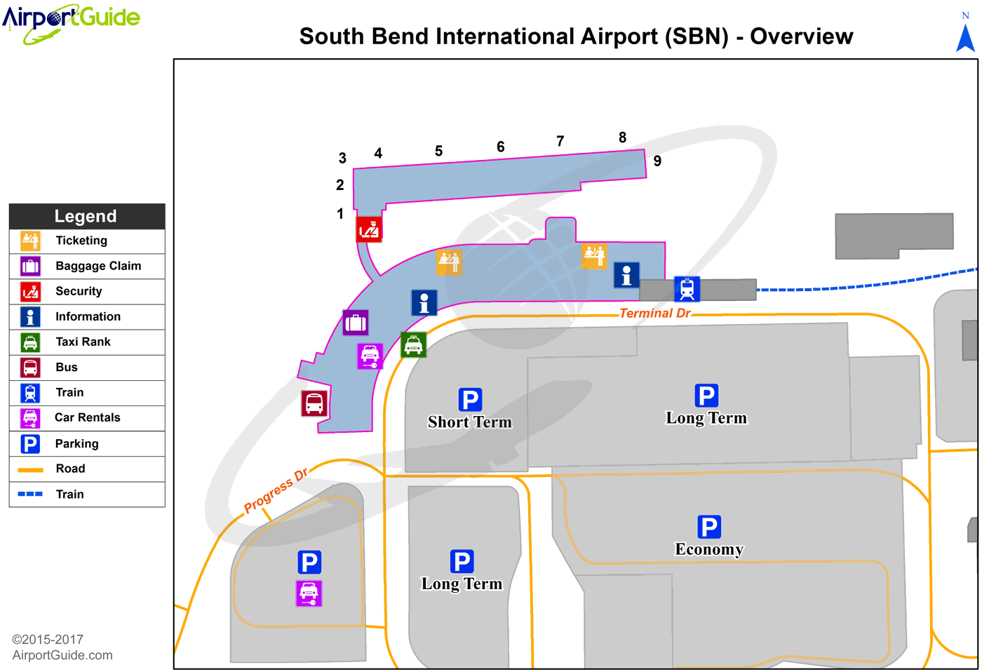 South Bend - South Bend International (SBN) Airport Terminal Map - Overview