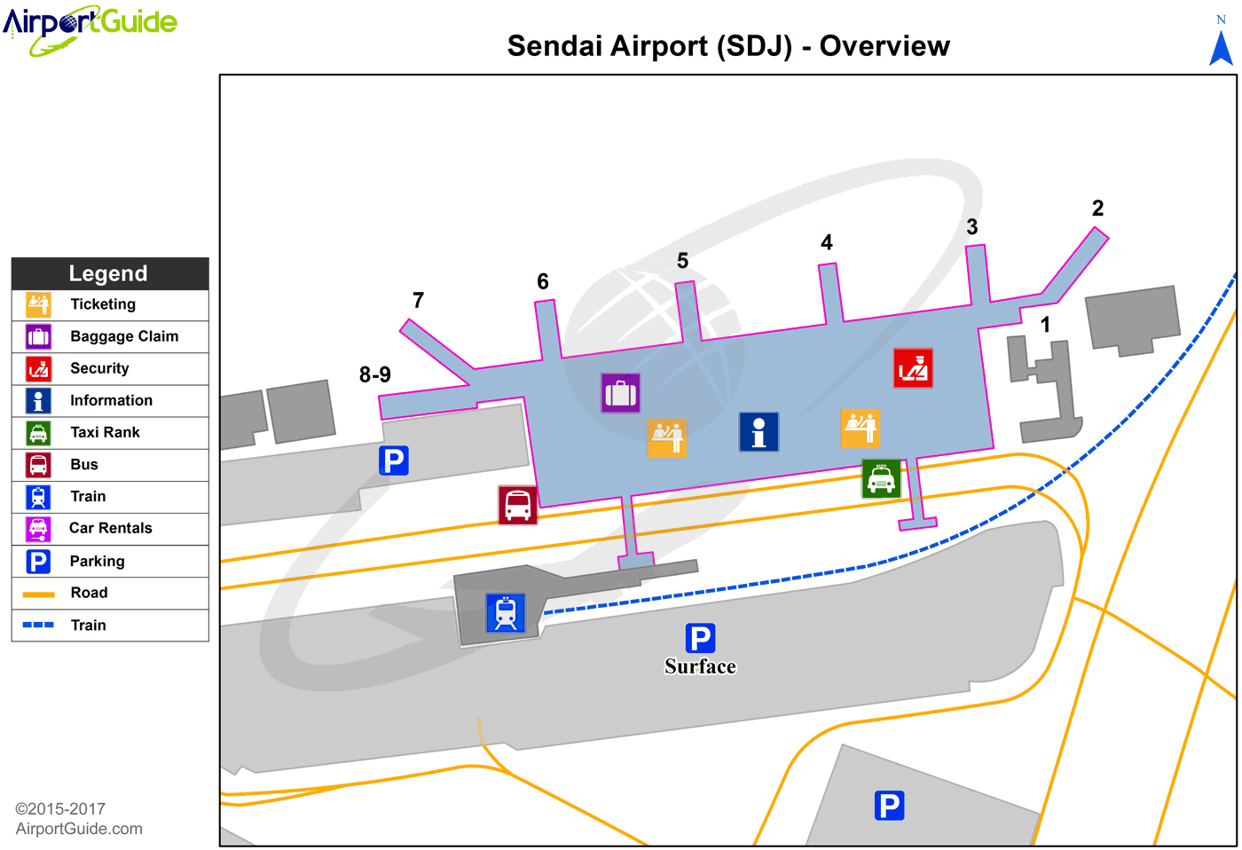 Sendai - Sendai (SDJ) Airport Terminal Map - Overview