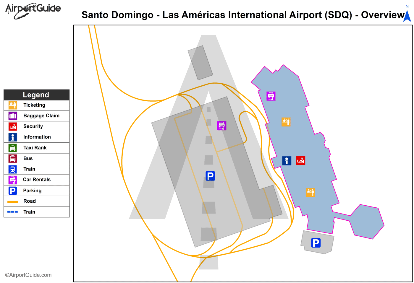 Santo Domingo - Las Américas International (SDQ) Airport Terminal Map - Overview