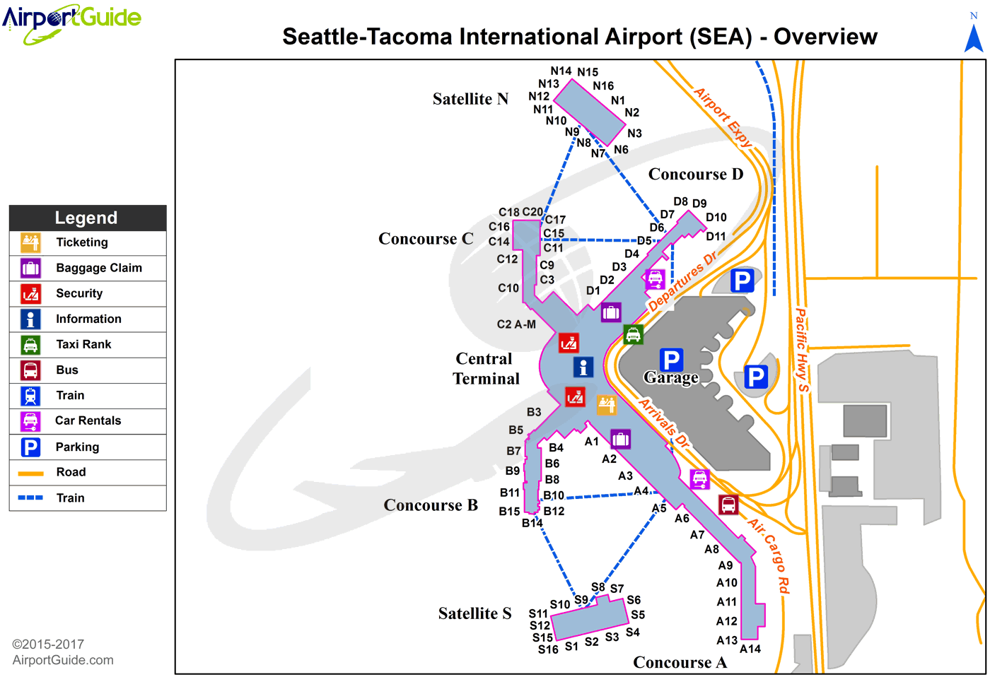 Seattle - Seattle-Tacoma International (SEA) Airport Terminal Map - Overview