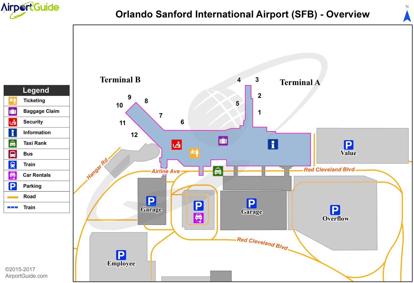 Orlando - Orlando Sanford International (SFB) Airport Terminal Map - Overview