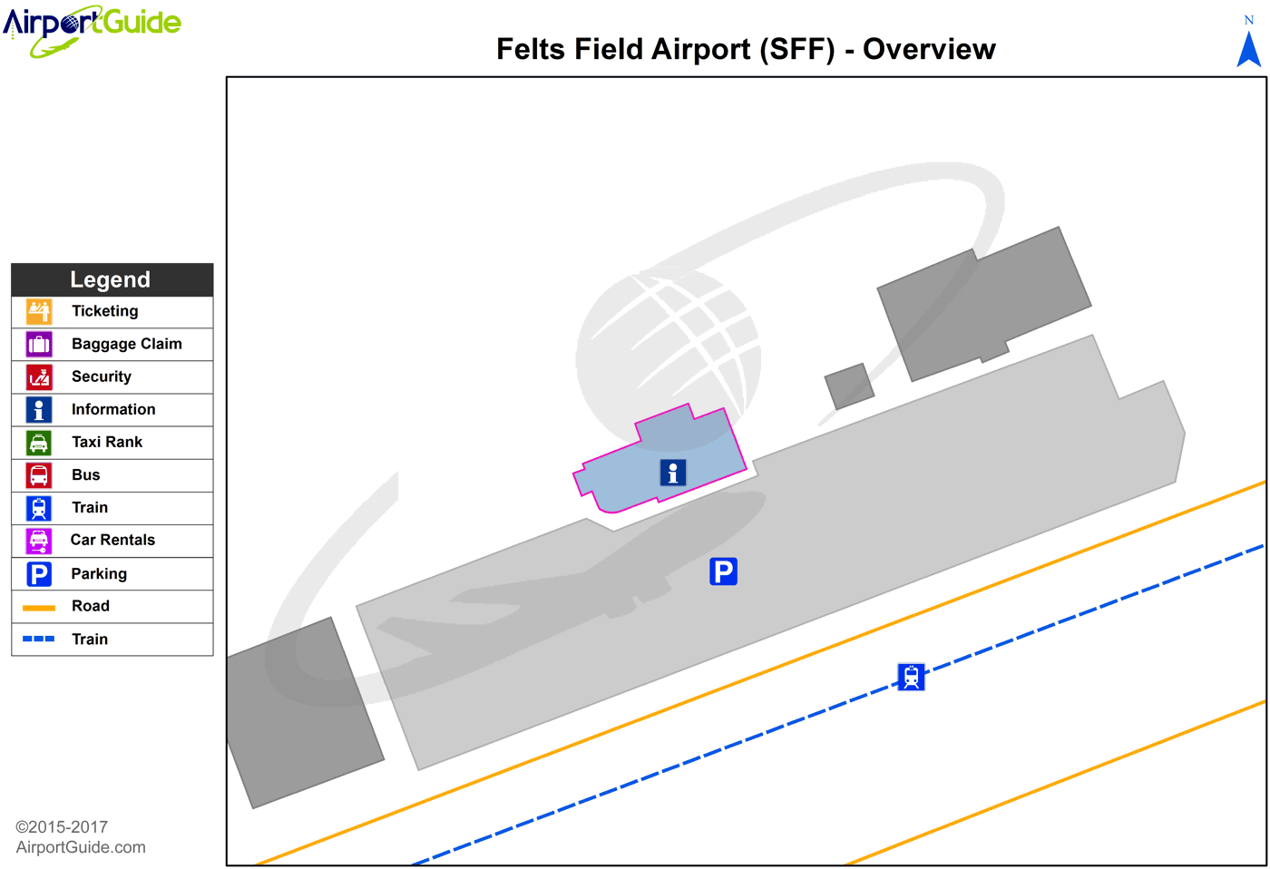 Spokane - Felts Field (SFF) Airport Terminal Map - Overview