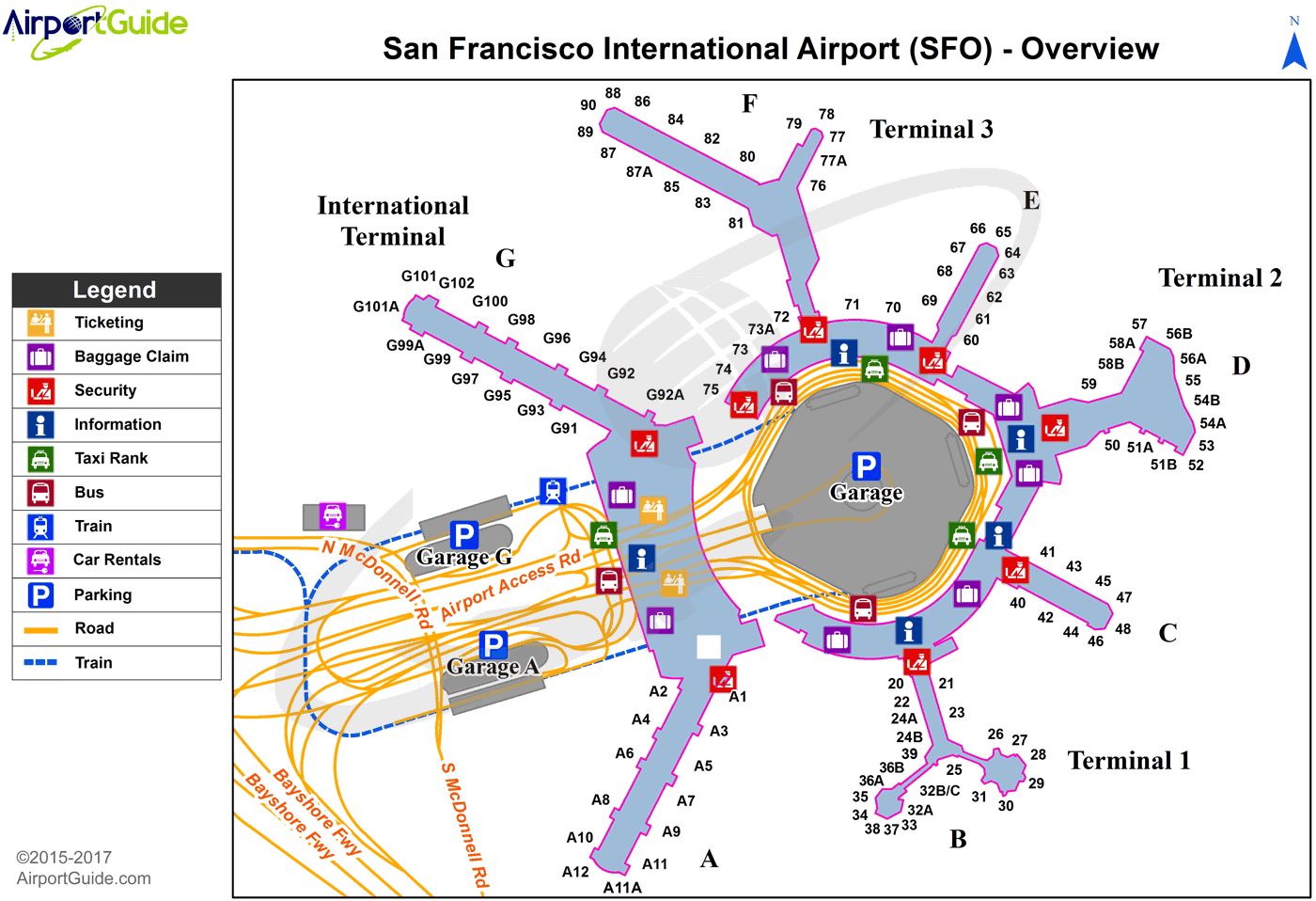 San Francisco - San Francisco International (SFO) Airport Terminal Map - Overview