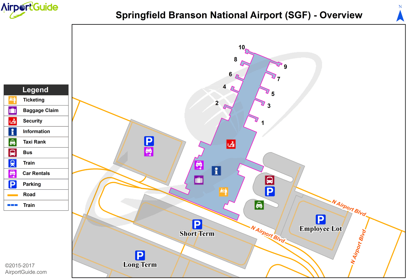 Springfield - Springfield-Branson National (SGF) Airport Terminal Map - Overview