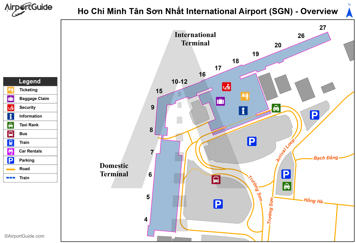 Ho Chi Minh City - Tan Son Nhat International (SGN) Airport Terminal Map - Overview