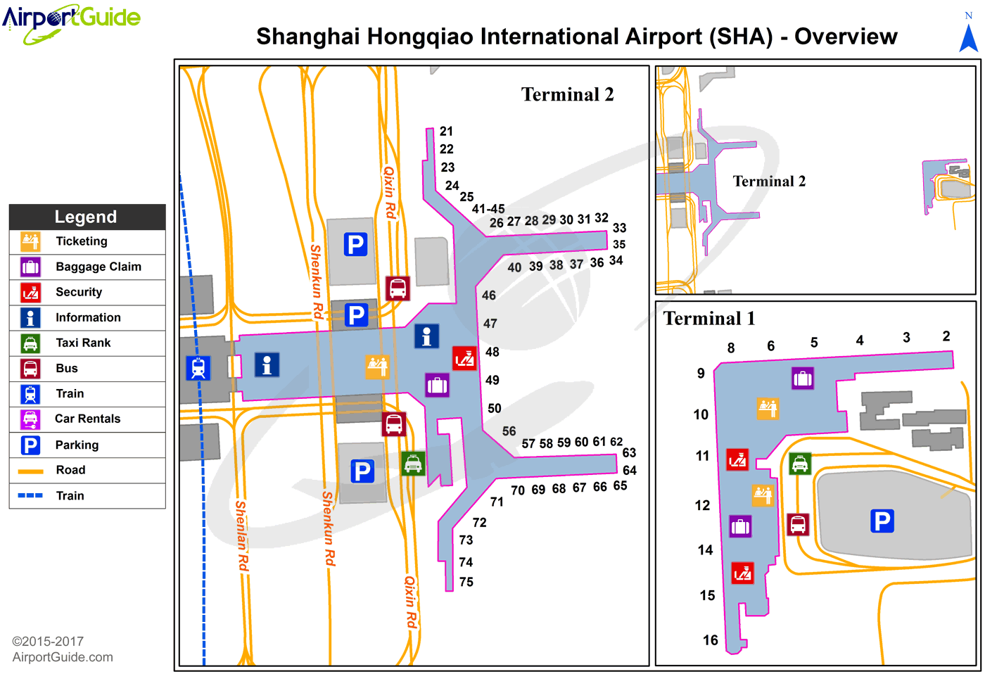 Shanghai - Shanghai Hongqiao International (SHA) Airport Terminal Map - Overview