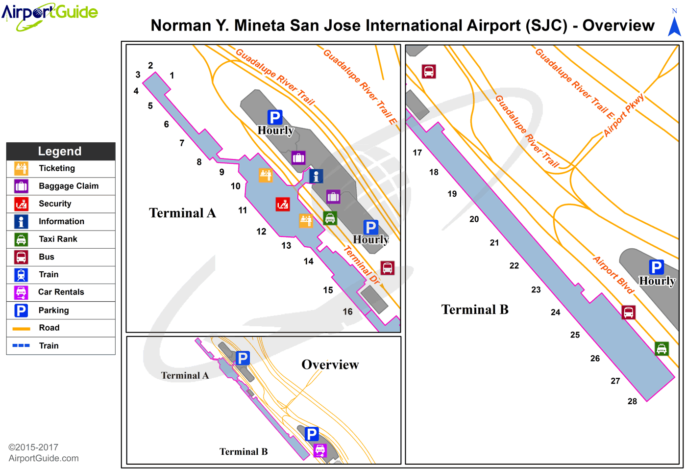 San Jose - Norman Y Mineta San Jose International (SJC) Airport Terminal Map - Overview