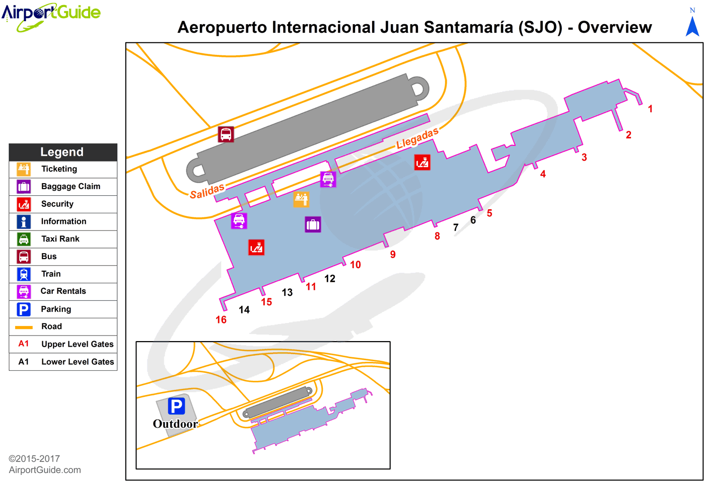 San Jose - Juan Santamaria International (SJO) Airport Terminal Map - Overview