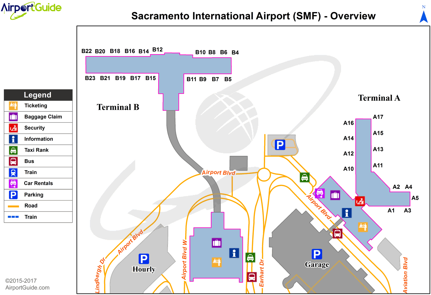 Sacramento - Sacramento International (SMF) Airport Terminal Map - Overview