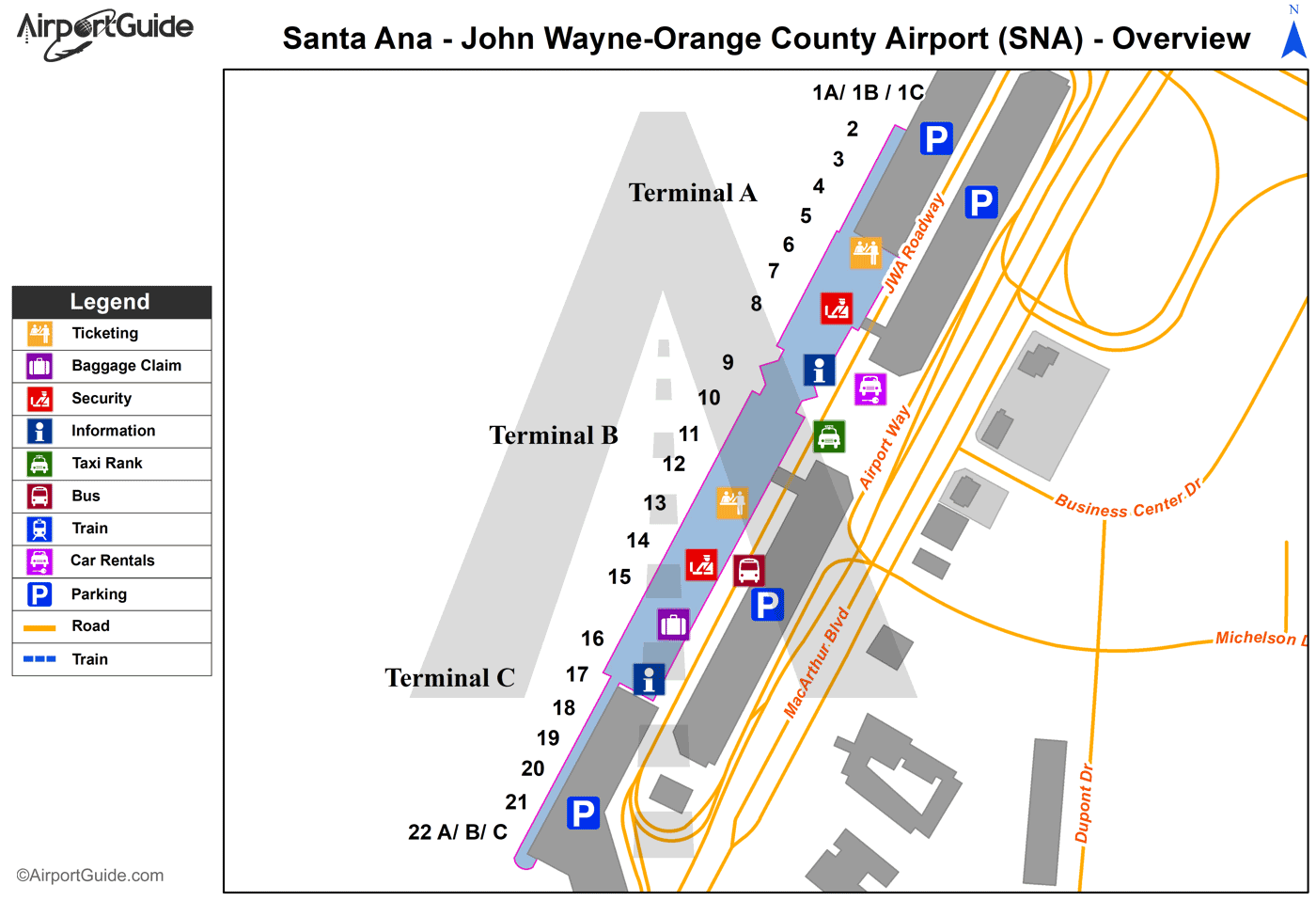 Santa Ana - San Bernardino International (SNA) Airport Terminal Map - Overview