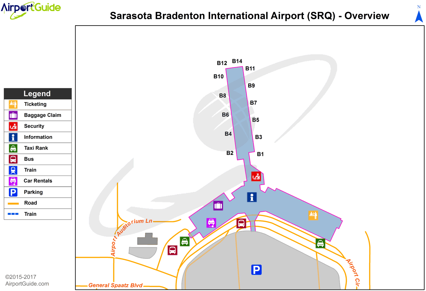 Sarasota/Bradenton - Sarasota/Bradenton International (SRQ) Airport Terminal Map - Overview