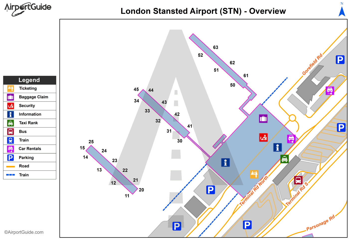 London - London Stansted (STN) Airport Terminal Map - Overview