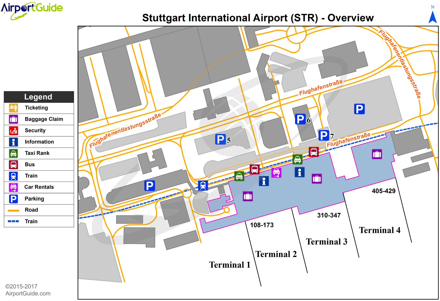 Stuttgart - Stuttgart (STR) Airport Terminal Map - Overview
