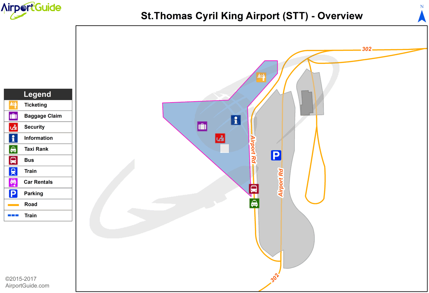 Charlotte Amalie - Cyril E King (STT) Airport Terminal Map - Overview