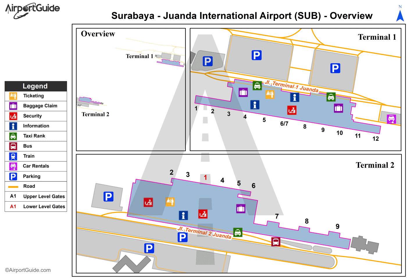 Surabaya - Juanda International (SUB) Airport Terminal Map - Overview
