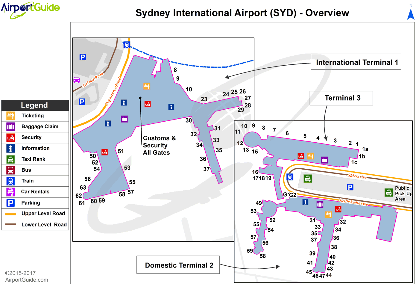 Sydney - Sydney Kingsford Smith International (SYD) Airport Terminal Map - Overview
