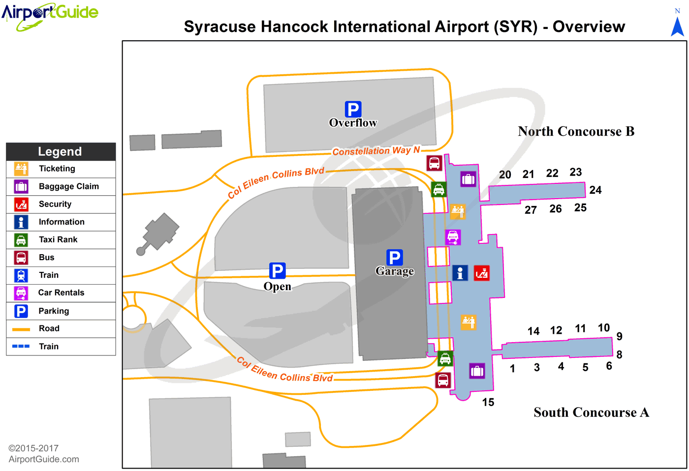 Syracuse - Syracuse Hancock International (SYR) Airport Terminal Map - Overview