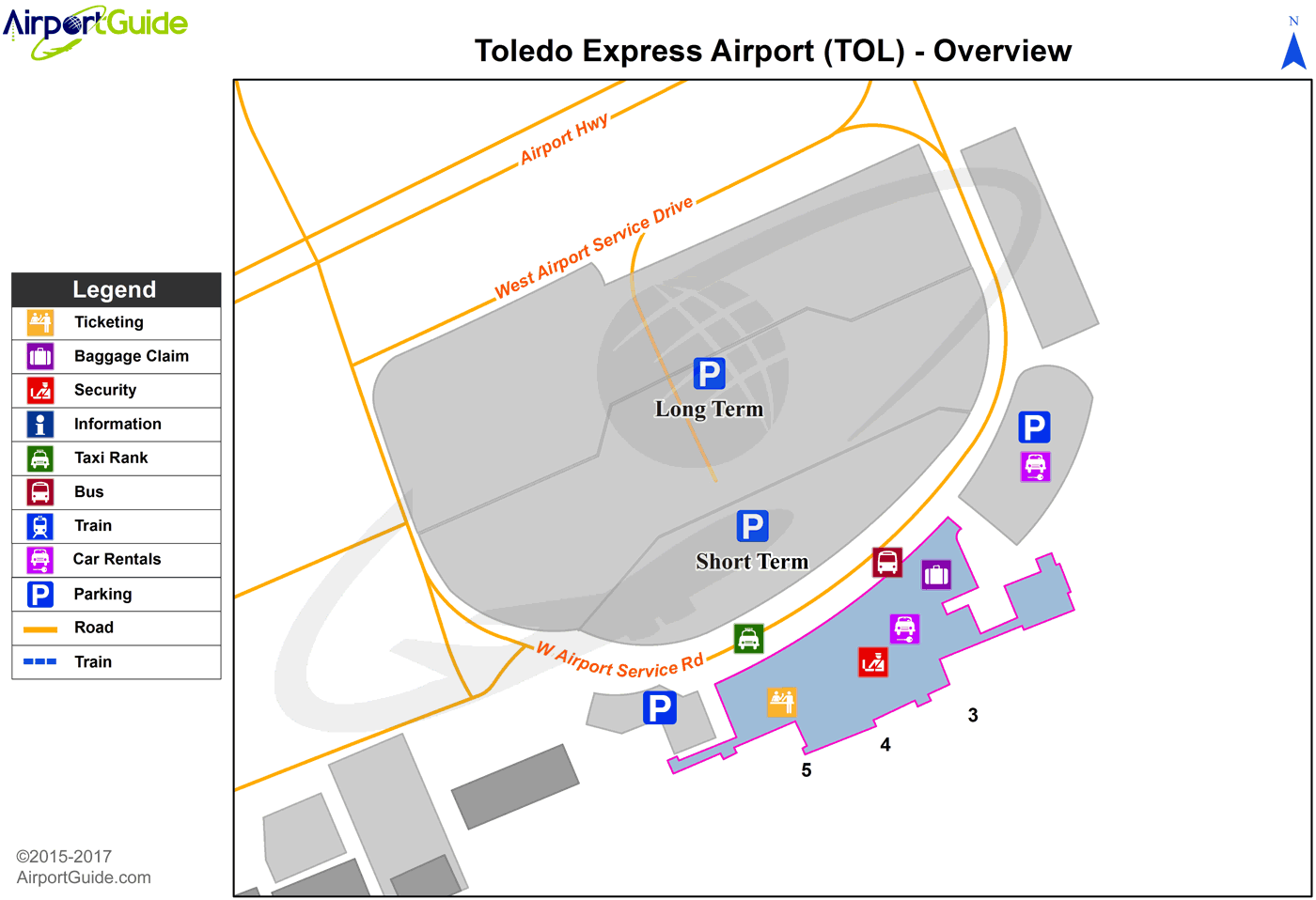 Toledo - Toledo Express (TOL) Airport Terminal Map - Overview