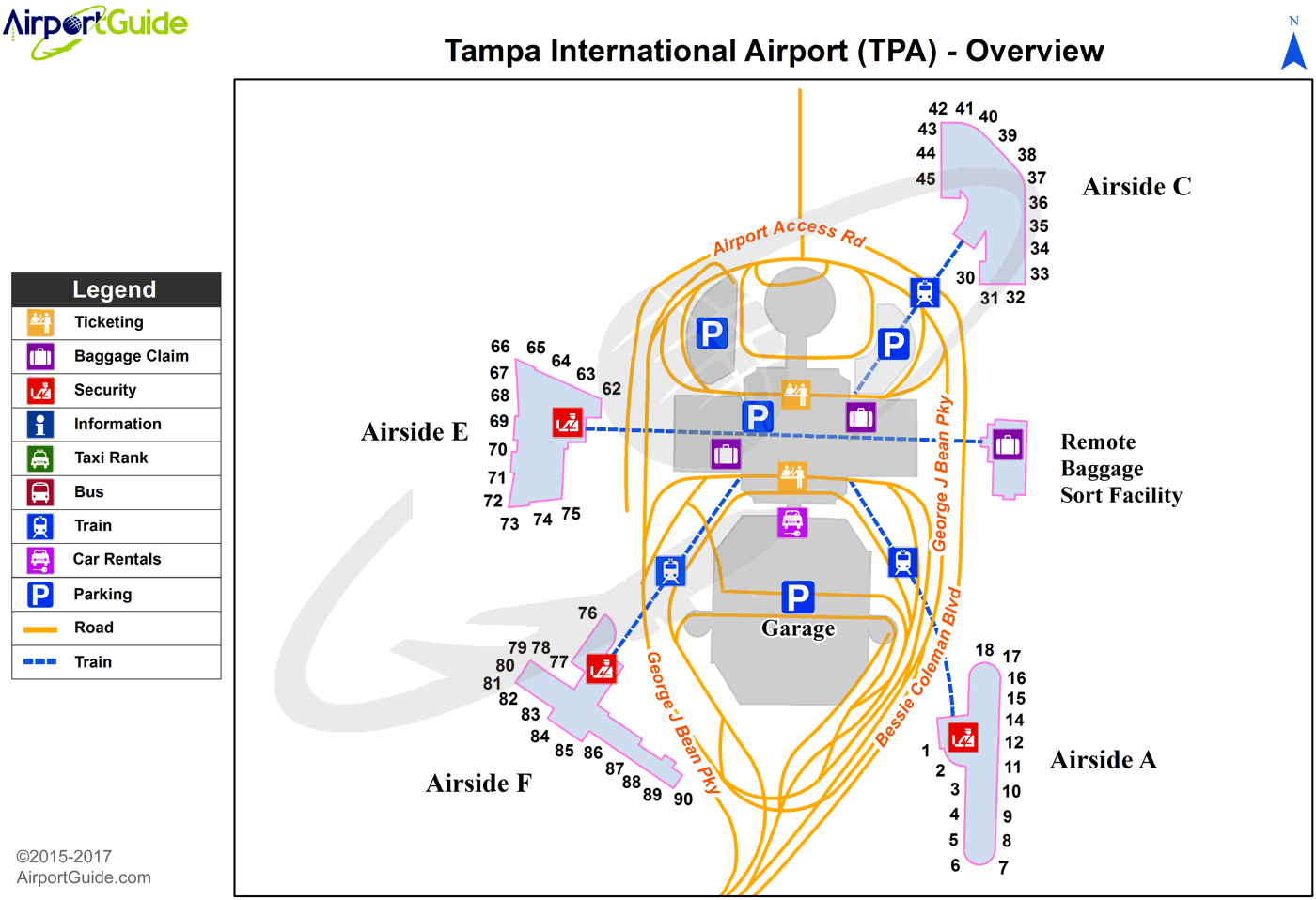 Tampa - Tampa International (TPA) Airport Terminal Map - Overview