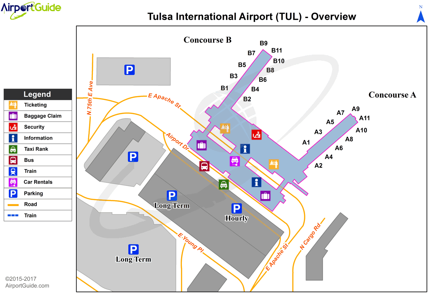 Tulsa - Tulsa International (TUL) Airport Terminal Map - Overview