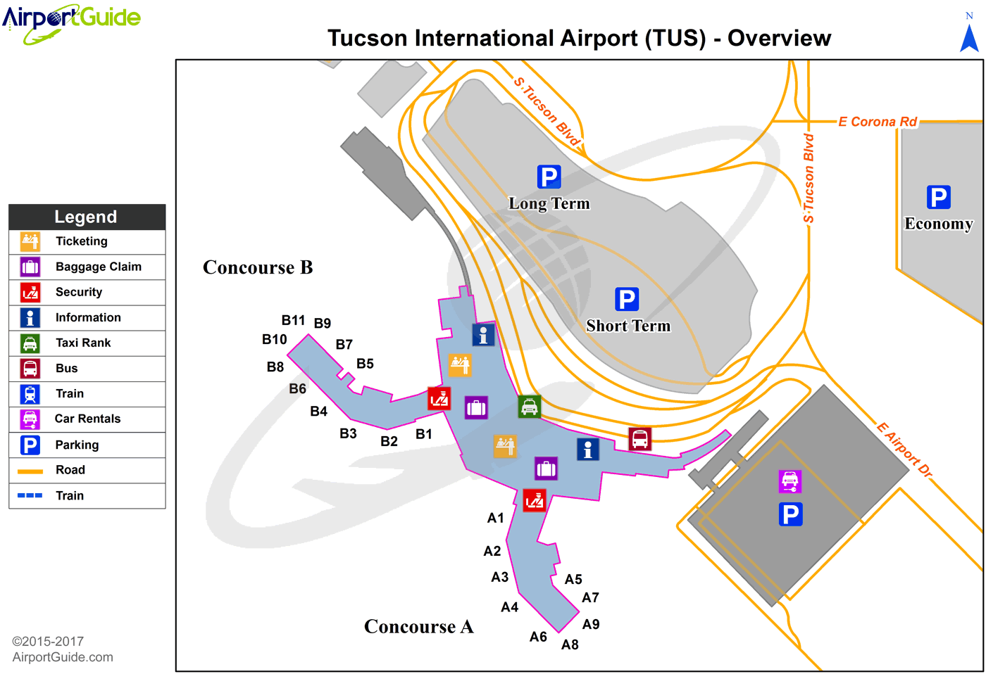 Tucson - Tucson International (TUS) Airport Terminal Map - Overview