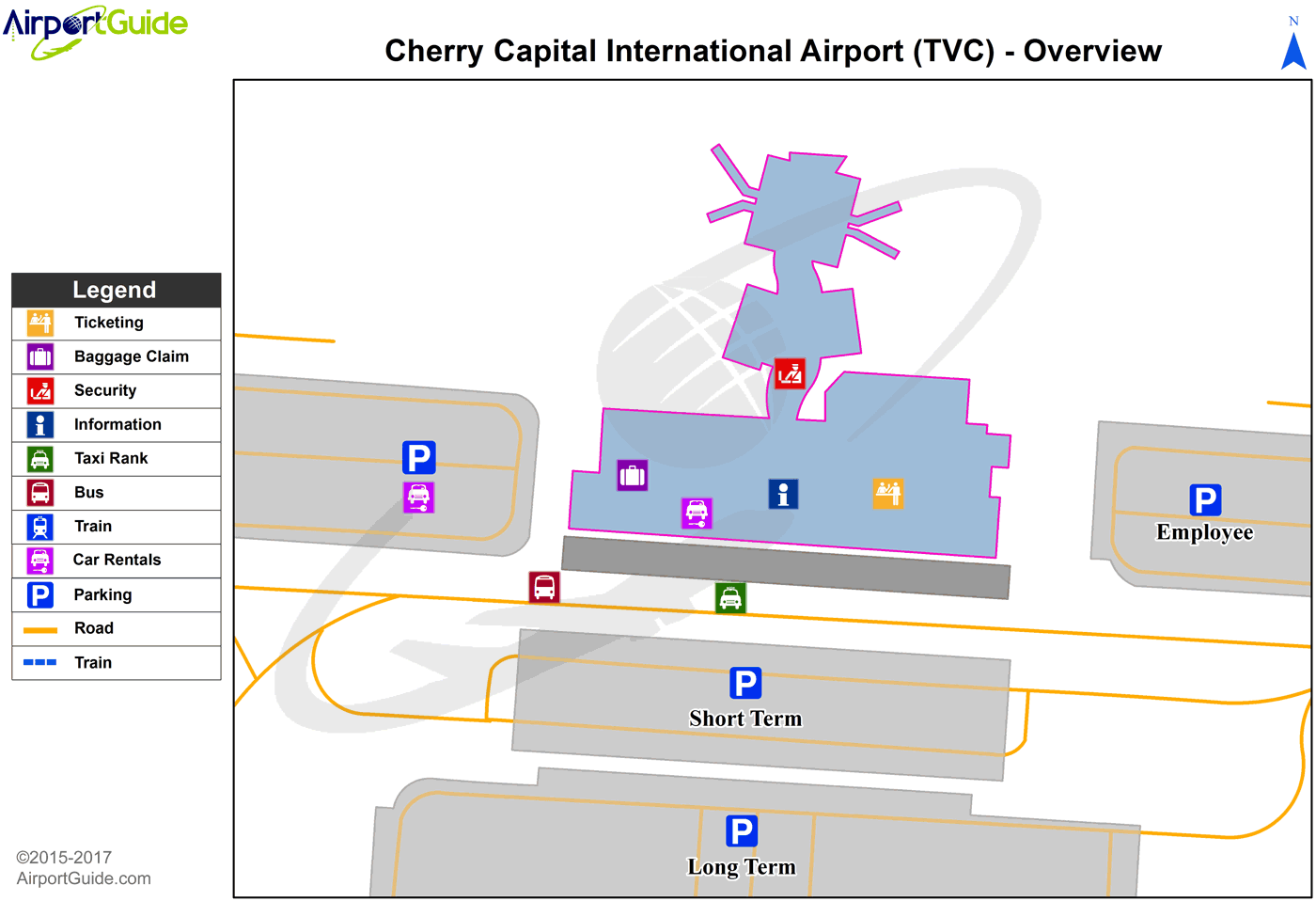 Traverse City - Cherry Capital (TVC) Airport Terminal Map - Overview