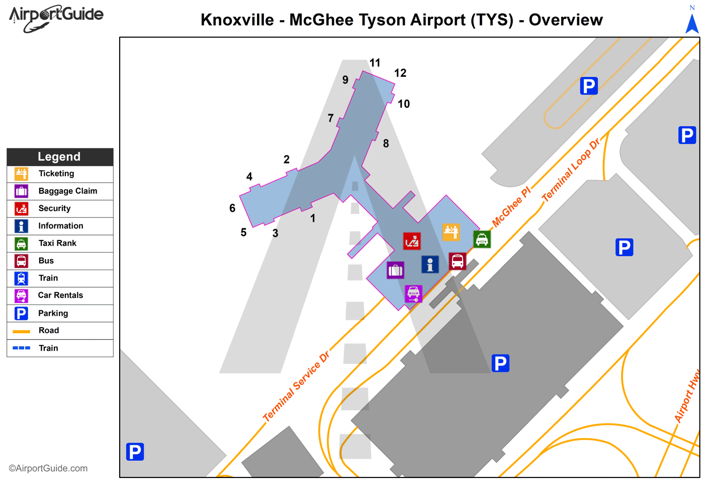 Knoxville - Mc Ghee Tyson (TYS) Airport Terminal Map - Overview