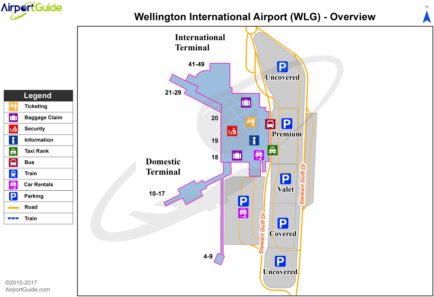 Wellington - Wellington International (WLG) Airport Terminal Map - Overview