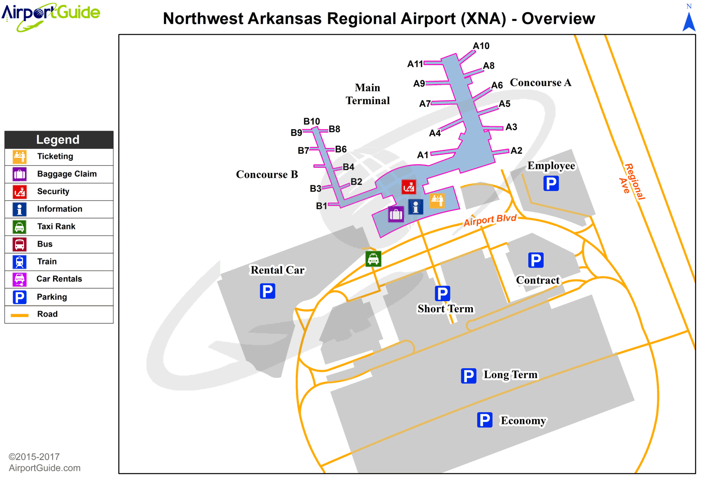 Fayetteville/Springdale/ - Northwest Arkansas Regional (XNA) Airport Terminal Map - Overview