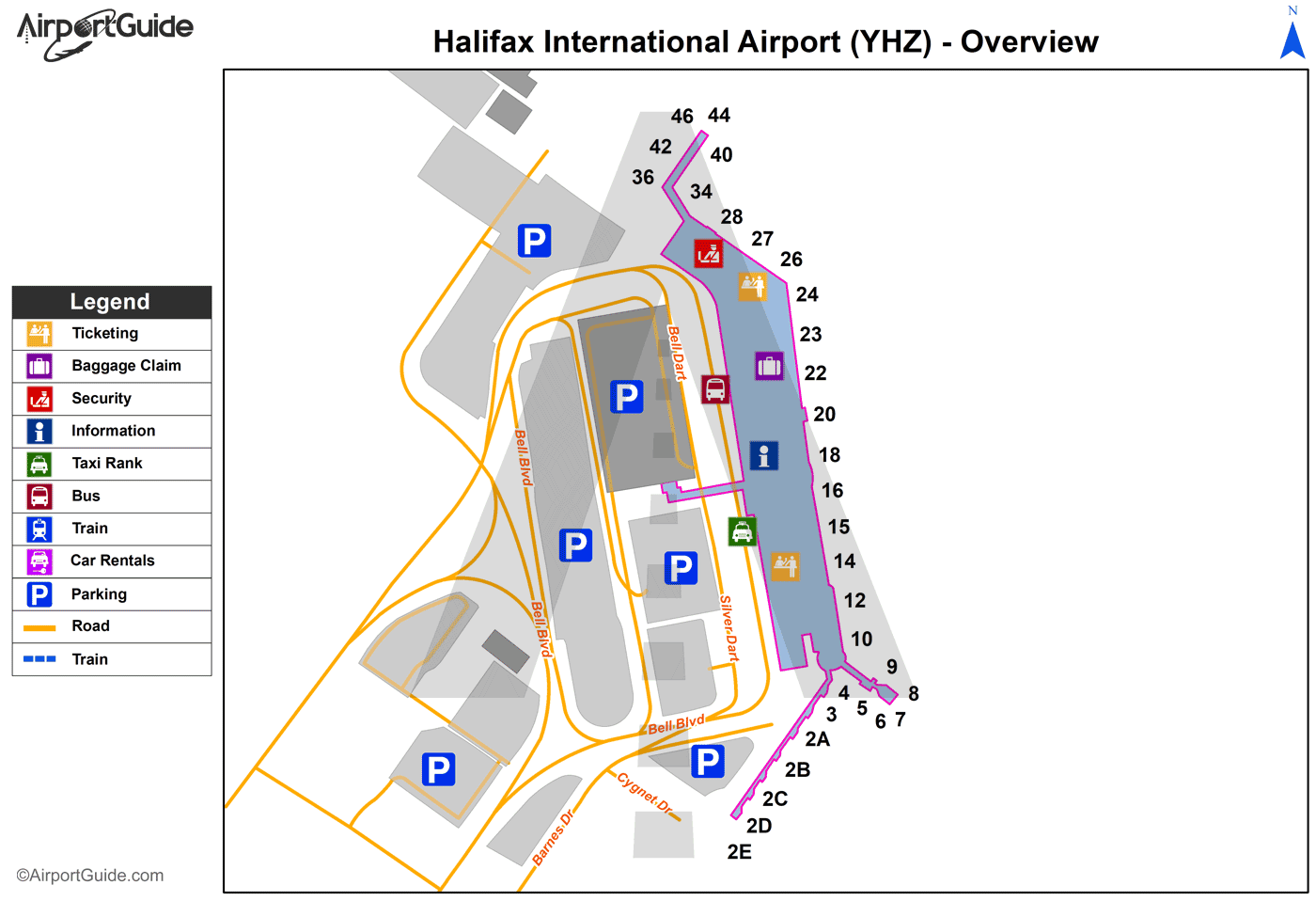 Halifax - Halifax / Stanfield International (YHZ) Airport Terminal Map - Overview