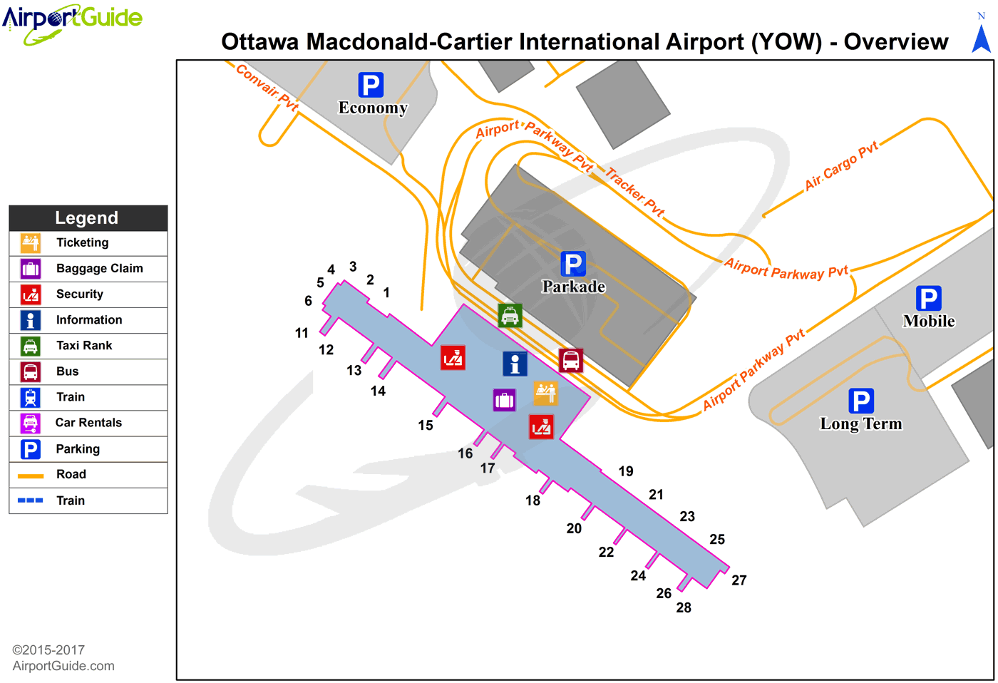 Ottawa - Ottawa/Macdonald-Cartier International (YOW) Airport Terminal Map - Overview