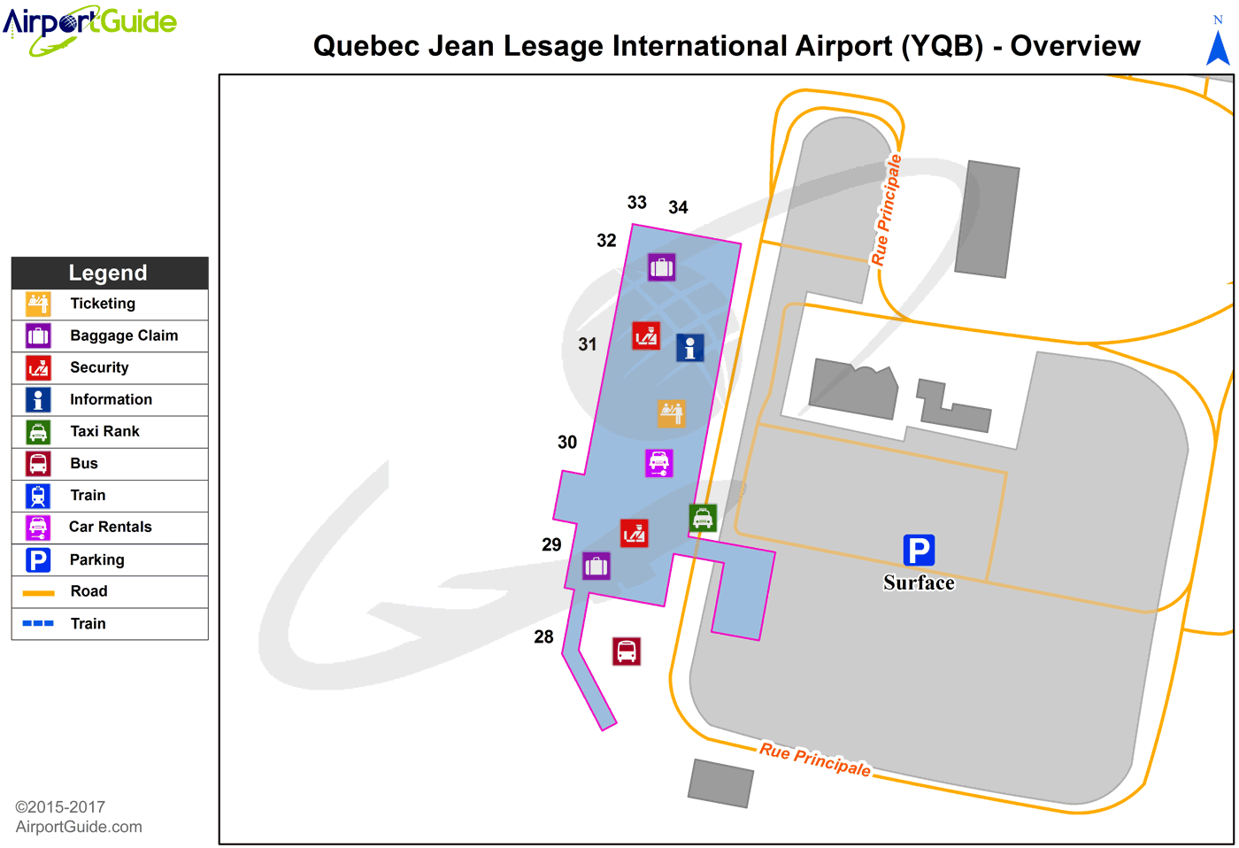 Quebec - Quebec/Jean Lesage International (YQB) Airport Terminal Map - Overview