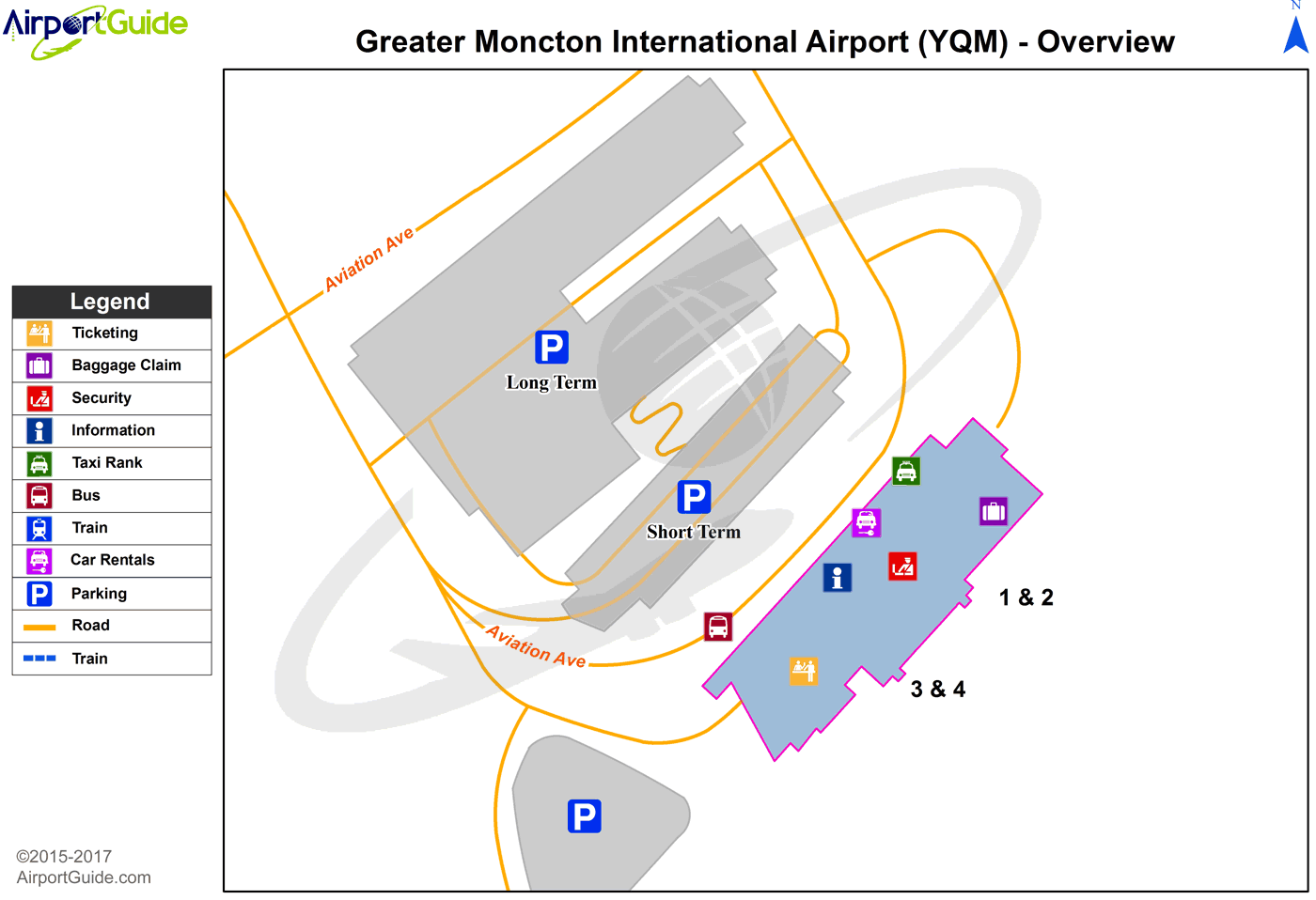 Moncton - Greater Moncton International (YQM) Airport Terminal Map - Overview
