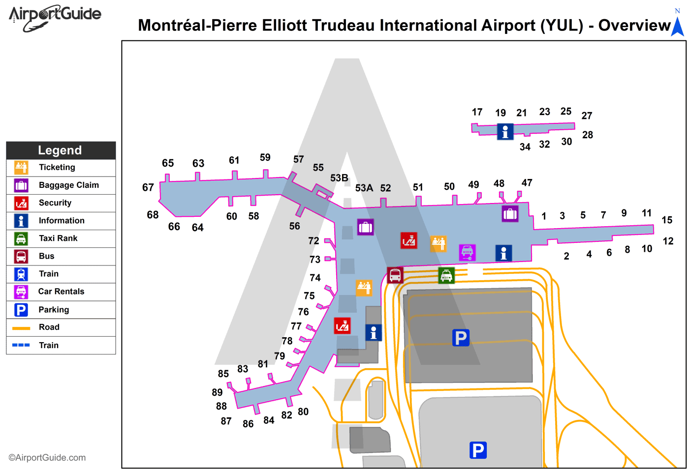 Montreal - Montreal / Pierre Elliott Trudeau International Airport (YUL) Airport Terminal Map - Overview