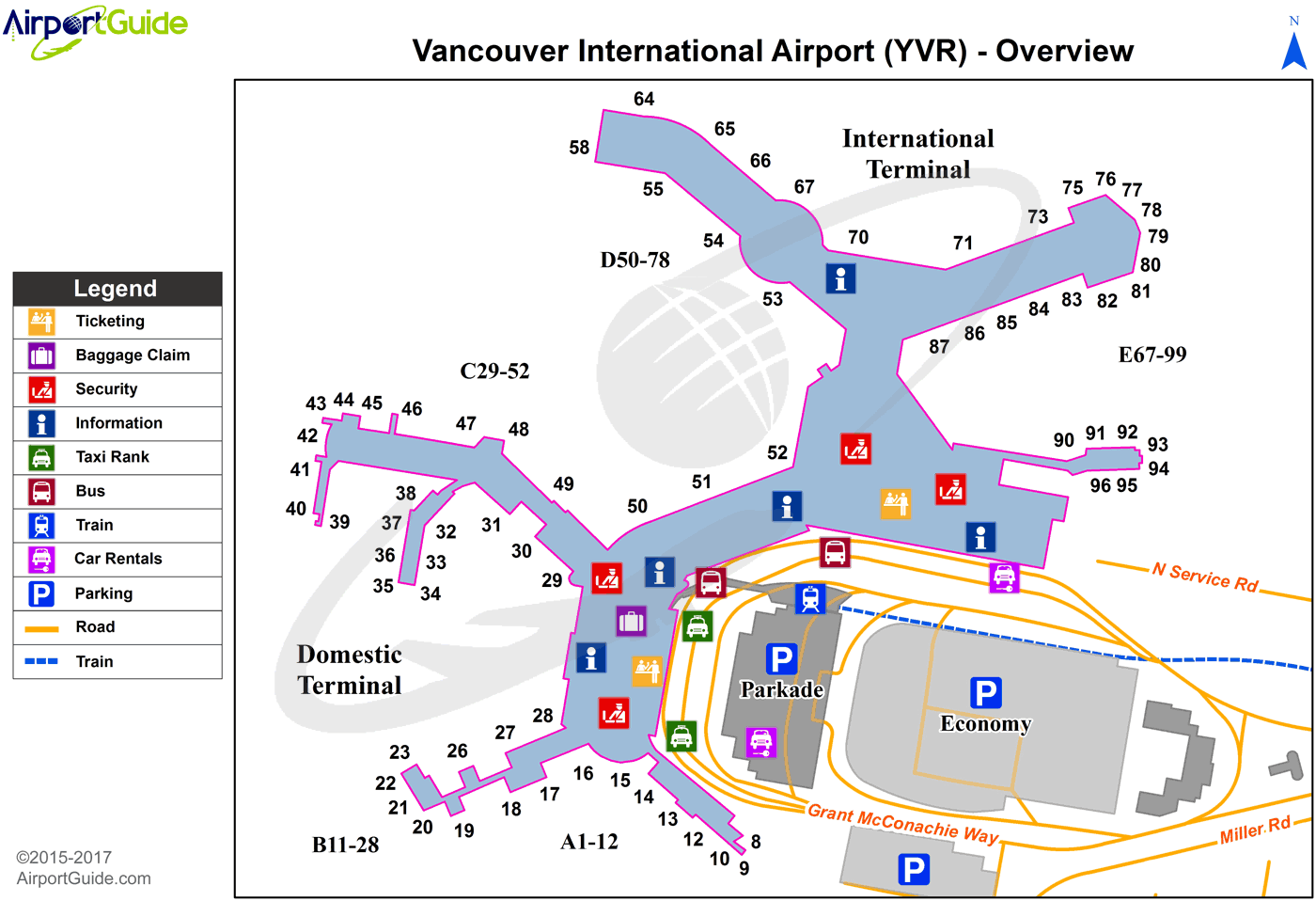 Vancouver - Vancouver International (YVR) Airport Terminal Map - Overview