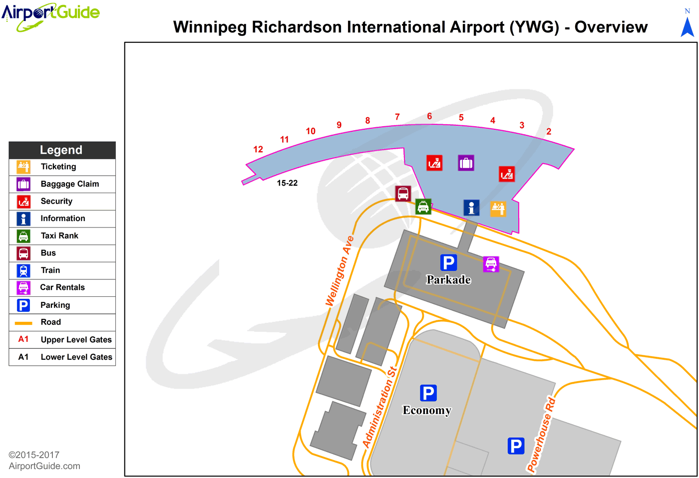 Winnipeg - Winnipeg / James Armstrong Richardson International Airport (YWG) Airport Terminal Map - Overview