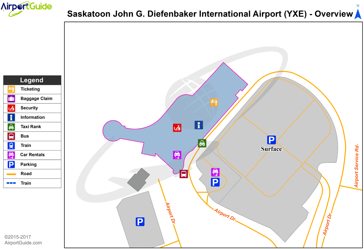Saskatoon - Saskatoon John G. Diefenbaker International (YXE) Airport Terminal Map - Overview