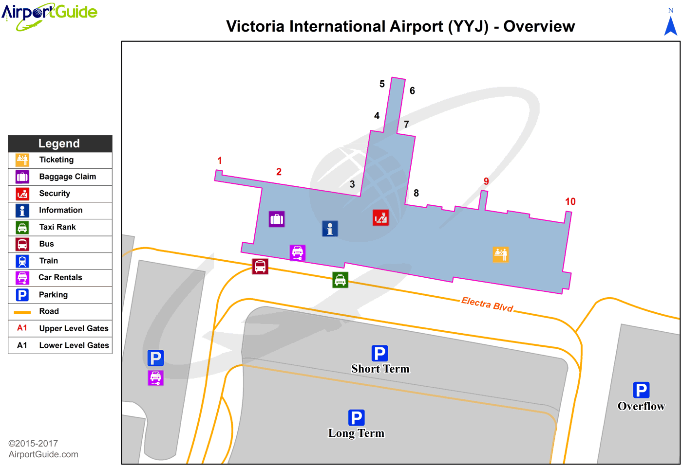 Victoria - Victoria International (YYJ) Airport Terminal Map - Overview