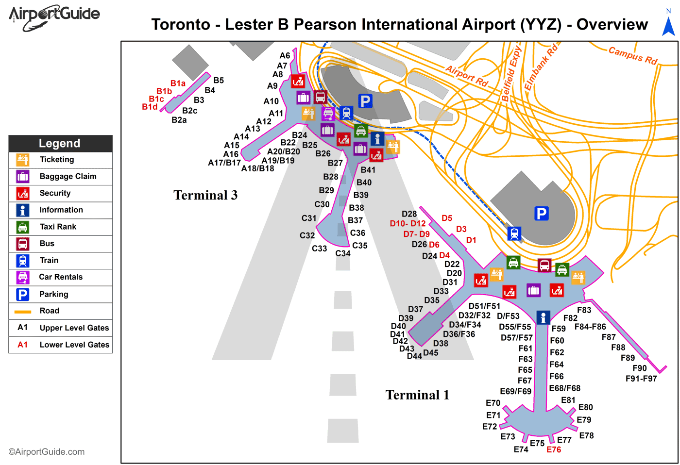 Toronto - Lester B Pearson International (YYZ) Airport Terminal Map - Overview