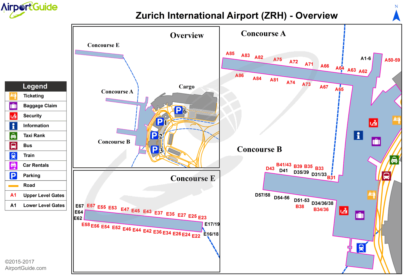 Zurich - Zürich (ZRH) Airport Terminal Map - Overview